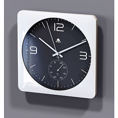 Alba Silent Wall Clock with Thermometer, 12""