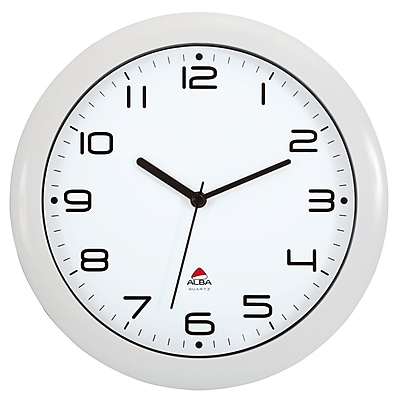 "ALBA 12"" Silent Wall Clock with Quartz Mechanism, White (HORNEWBC)"