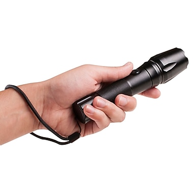Metal LED Flashlight Rugged w/ rechargeable batteries $9 @ Staples online deal
