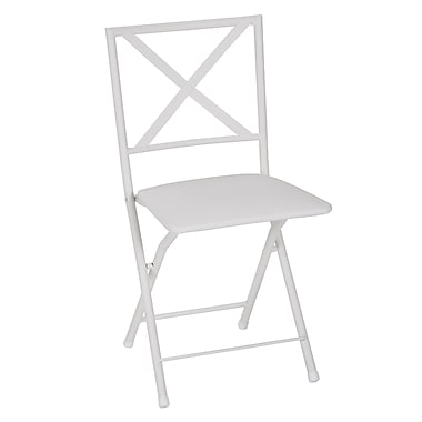 COSCO X Back Metal Folding Dining Chair with Vinyl Seat White, 4 Pack (39234WHTE)