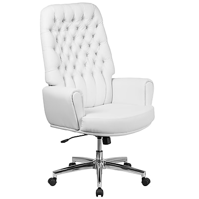 Flash Furniture High Back Traditional Tufted Leather Executive Swivel Chair with Arms (BT444WH)