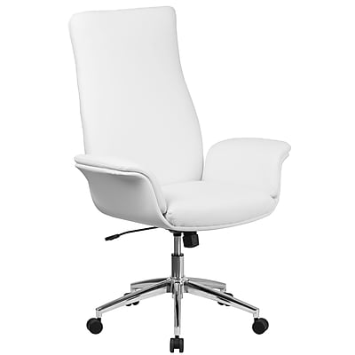 Flash Furniture High Back Leather Executive Executive Swivel Chair with Flared Arms (BT88WH)