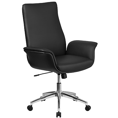 Flash Furniture Mid-Back Leather Executive Executive Swivel Chair with Flared Arms (BT88MIDBK)