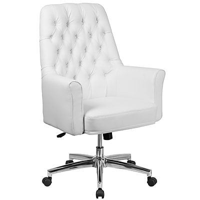 Flash Furniture Mid-Back Traditional Tufted Executive Swivel Chair with Arms (BT444MIDWH)