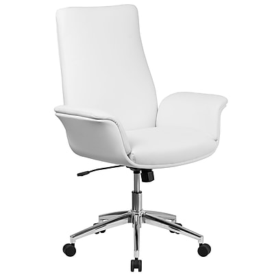 Flash Furniture Mid-Back Leather Executive Executive Swivel Chair with Flared Arms (BT88MIDWH)