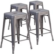 Flash Furniture 24'' High Backless Metal Indoor Barstool with Square Seat 4/Pack (4XUDGTP000424)