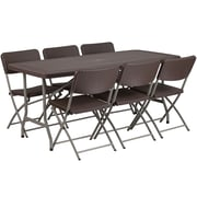 "Flash Furniture 32.5""W x 67.5""L Rattan Plastic Folding Table Set with 6 Chairs (DADYCZ17261)"