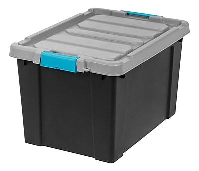 IRIS® Store-It-All Tote 19 Gallon, 2 Pack, Black with Teal buckles