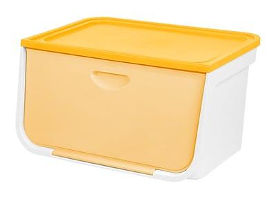 IRIS®49 Quart Large Flap Box, White and Yellow