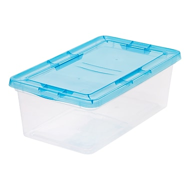 IRIS® 6 Quart Clear Storage Box with Teal Lid, 18 Pack