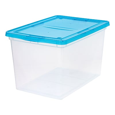 IRIS® 68 Quart Clear Storage Box with Teal Lid, 6 Pack