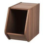 IRIS® Modular Wood Stacking Open Storage Box, Narrow, Dark Brown