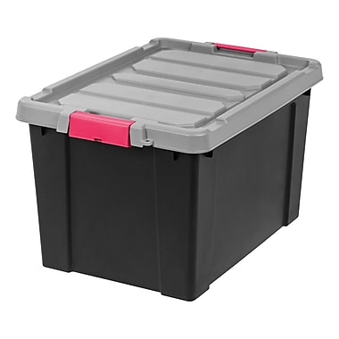 IRIS® Store-It-All Tote, 19 Gallon, 2 Pack, Black w/ Pink Buckles
