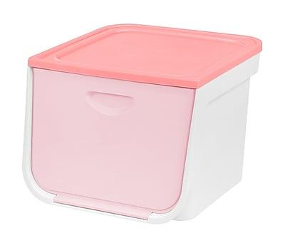 IRIS® IRIS 33 Quart Medium Flap Box, White and Pink