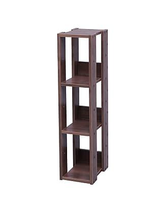 IRIS® Mado 3-Shelf Slim Open Wood Shelving Unit, Brown
