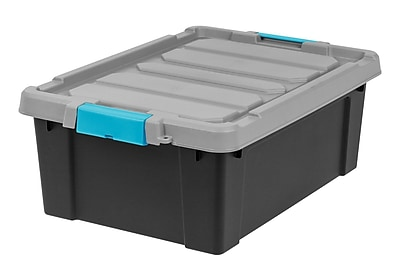 IRIS® Store-It-All Tote 10 Gallon, 2 Pack, Black with Teal buckles