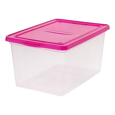 IRIS® 58 Quart Clear Storage Box with Magenta Lid, 6 Pack