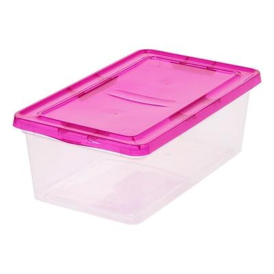 IRIS® 6 Quart Clear Storage Box with Magenta Lid, 18 Pack