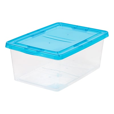 IRIS® 17 Qt. Clear Storage Box w/ Teal Lid, 12 Pack