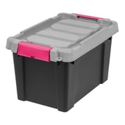 IRIS® Store-It-All Tote 5 Gallon, 4 Pack, Black with Pink buckles