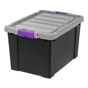 IRIS® Store-It-All Tote 19 Gallon, 2 Pack, Black with Purple buckles