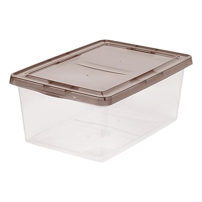 IRIS® 17 Quart Clear Storage Box with Gray Lid, 12 Pack