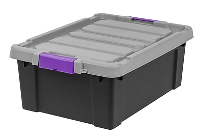 IRIS® Store-It-All Tote 10 Gallon, 2 Pack, Black with Purple buckles
