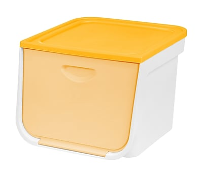 IRIS®33 Quart Medium Flap Box, White and Yellow