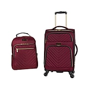 KENNETH COLE REACTION Chelsea Polyester Carry-On Luggage and Backpack Set, Red (5716732)