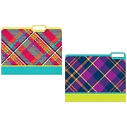 JAM Paper Plaid File Folders, 4-Tabs, Letter Size, Assorted, 4/Pack (JIGCOCF866423)