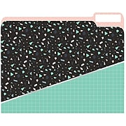 JAM Paper Plaid Confetti File Folders, 4-Tabs, Letter Size, Assorted, 4/Pack (JIGCOCF866427)