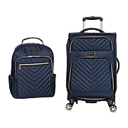 Kenneth Cole Reaction Chelsea Polyester Carry-On Luggage and Backpack Set, Navy (5716737)
