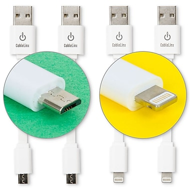 CableLinx 4-Pack of 2 Micro to USB and 2 Lightning to USB 3.5