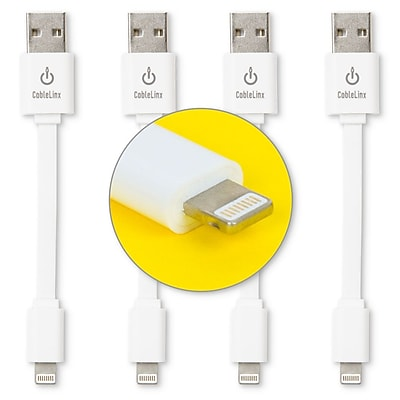 """CableLinx 4-Pack of Lightning to USB 3.5"""" Charge & Sync Cables White (USB4PK-2-4A)"""