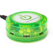 ChargeHub X5 5-Port USB SuperCharger 2.4A Output per Port Edge Glow Green (CRGRD-X5-200)