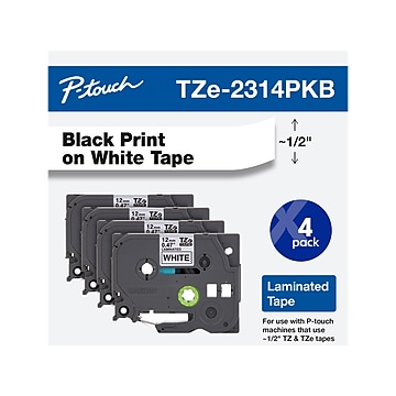 """Brother P-Touch TZe-231 Label Maker Tape, 0.47""""W, Black on White, 4/Pack (TZE231 4PKB)"""