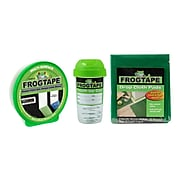 """FrogTape 0.94"""" x 60 yds. Multi-Surface Painter Tape with Touch Up Storage Cup and 3 Drop Cloths, Green (FROGPACKA-STP)"""