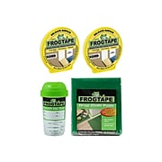 """FrogTape 0.94"""" x 60 yds. 2 Delicate Surface Painter Tapes, Touch Up Storage Cup and 3 Drop Cloths, Green/Yellow"""