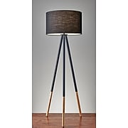 """Adesso® Louise 60.25""""H Tripod Floor Lamp, Black with Black Fabric Shade (6285-01)"""