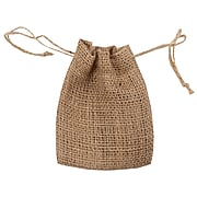 "JAM PAPER Burlap Pouches with Drawstring, 4"" x 5"", Natural Brown Recycled, 6 Pouches/Pack (461999A)"