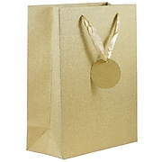 "JAM PAPER No,Mess Glitter Gift Bags, Medium, 8.5"" x 10"" x 3.5"", Gold, 6/Pack (SPC17K20A)"