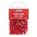 JAM Paper® Colored Pushpins, Red Push Pins, 100/Pack (2242955)