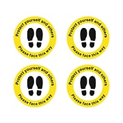 Seco Safety Awareness Floor Sign, Yellow/Black/White, 4/Pack (FGCORONALIFT-300dia)