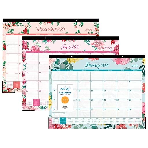 "2021 Blue Sky 22"" x 17"" Desk Pad Calendar, Reflections ..."