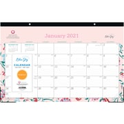 "2021 Blue Sky 11"" x 17"" Desk Pad Calendar, ""Garden Flower"" Breast Cancer Awareness, Multicolor (100021-21)"