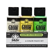 FolkArt Glow-in-the-Dark Non Washable Acrylic Paint Set, Assorted Colors, 2 oz., 6/Pack (7494E)