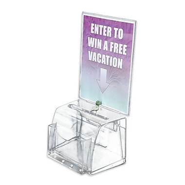 Azar Displays Medium Moulded Suggestion Box with Pocket, Lock and Key