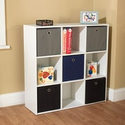 TMS Wood White Storage Cases With 5 Fabric Bins