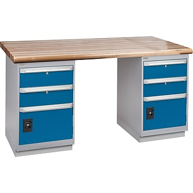 KLETON Workbench, Laminated Wood Top, 2 Pedestals, 2 Drawers & 1 Door, 2 Drawers & 1 Door