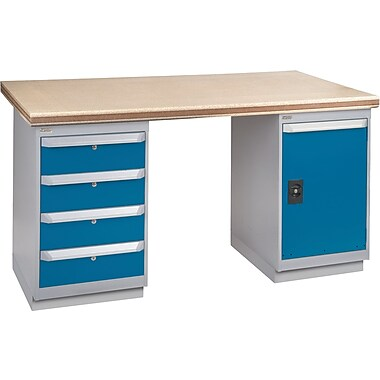 KLETON Workbench, Shop Top, 2 Pedestals, 4 Drawers, Full Door Cabinet